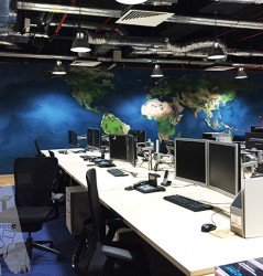 Singapore office map painting