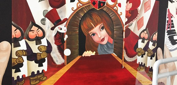 Wonderland mural for school theater
