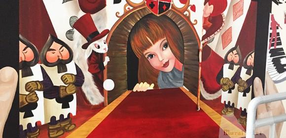 Wonderland mural for school theater